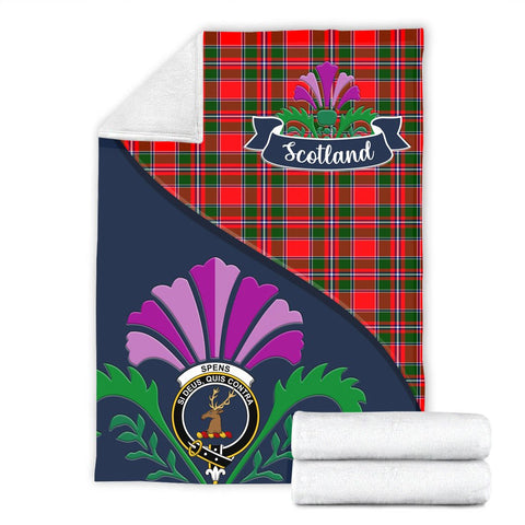 Image of Spens (or Spence) Crest Tartan Blanket Scotland Thistle A30