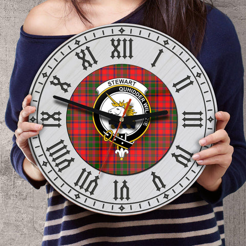 Image of Stewart (of Appin) Tartan Clan Badge Wooden Wall Clock - 2 Layers Version - BN