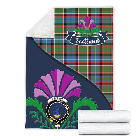 Image of Stirling (of Cadder-Present Chief) Crest Tartan Blanket Scotland Thistle A30