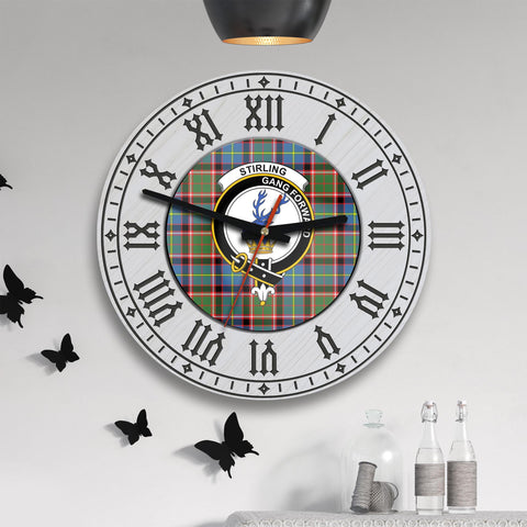 Stirling (of Cadder-Present Chief) Tartan Clan Badge Wooden Wall Clock - 2 Layers Version - BN