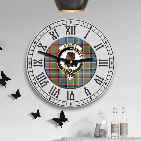 Stirling (of Keir) Tartan Clan Badge Wooden Wall Clock - 2 Layers Version - BN