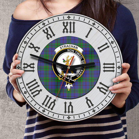 Image of Strachan Tartan Clan Badge Wooden Wall Clock - 2 Layers Version - BN