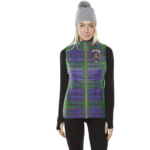 Image of Strachan Tartan Puffer Vest for Men and Women - Clan Badge K4