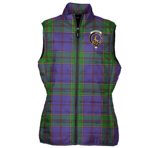 Strachan Tartan Puffer Vest for Men and Women - Clan Badge K4