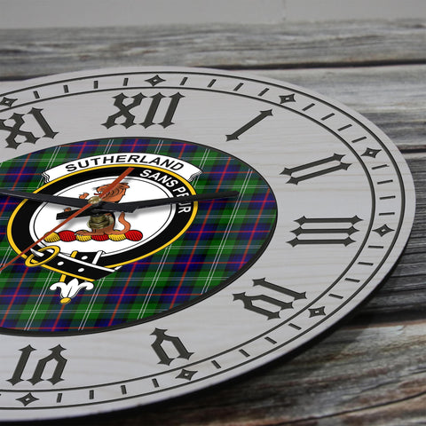 Image of Sutherland Tartan Clan Badge Wooden Wall Clock - 2 Layers Version - BN