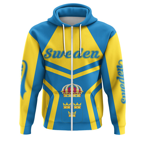 Image of Sweden Coat Of Arms Zip-Up Hoodie My Style J7