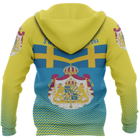 Image of Sweden Hoodie - Sweden Victory Hoodie Classic Version - Blue and Yellow - Back - For Men and Women