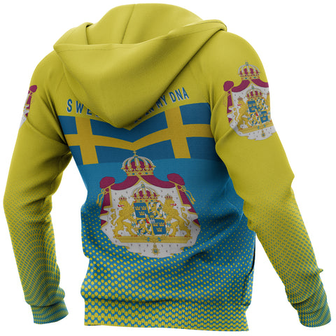 Image of Sweden Hoodie - Sweden Victory Hoodie Classic Version - Blue and Yellow - Back and Sleeve - For Men and Women