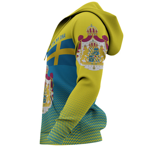 Image of Sweden Hoodie - Sweden Victory Hoodie Classic Version - Blue and Yellow - Front and Sleeve - For Men and Women
