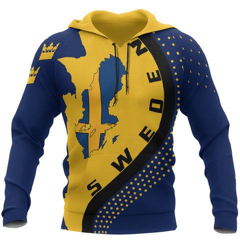 Sweden Hoodie - Sweden Map Hoodie Generation II - Blue and Yellow - Front - For Men and Women