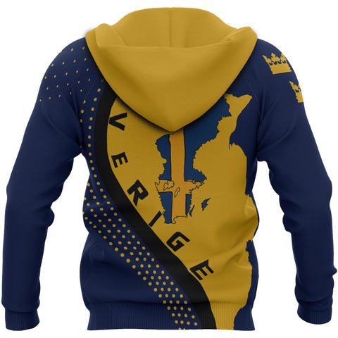 Image of Sweden Hoodie - Sweden Map Hoodie Generation II - Blue and Yellow - Back - For Men and Women