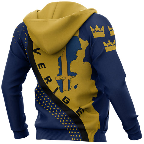 Image of Sweden Hoodie - Sweden Map Hoodie Generation II - Blue and Yellow - Back and Sleeves - For Men and Women
