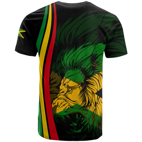1stTheWorld Jamaica Flag Rasta Lion T-Shirt - Ten Style - J6