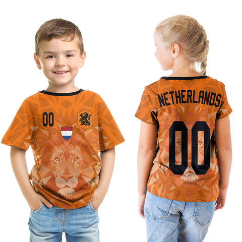 (Custom) Netherlands Lion T-shirt Kid Euro Soccer A27