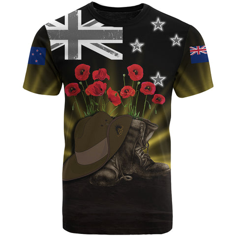 New Zealand Anzac Day T-Shirt - Lest We Forget Hat And Boots Poppies | Love The World