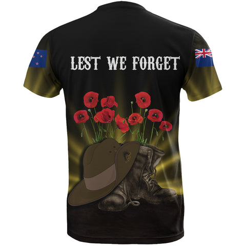 New Zealand Anzac Day T-Shirt -  Lest Me Forget Hat And Boots Poppies A24