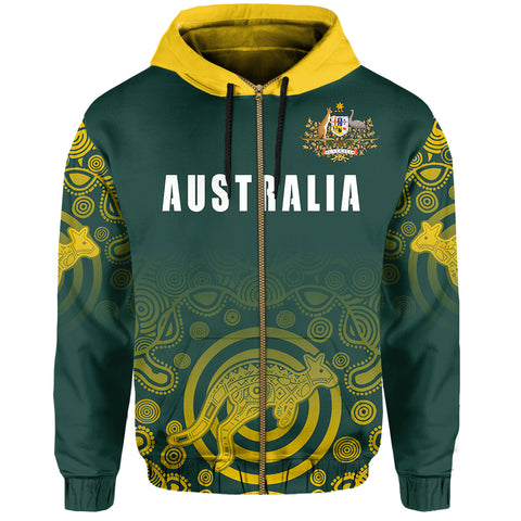 Australia Zip-Up Hoodie Coat Of Arms - Rugby Style