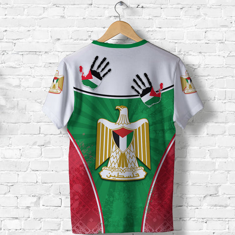 Image of Palestine Independence T Shirt Circle Stripes Flag Proud Version Back | 1sttheworld