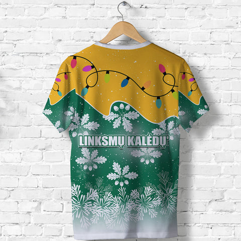 Lithuania Christmas T Shirt Oak Leaves - Lietuva Back | 1sttheworld