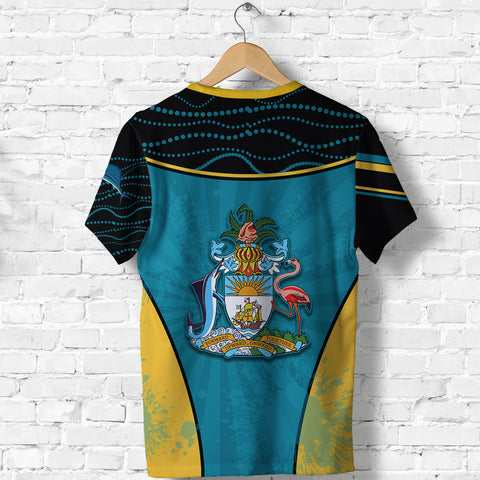 Bahamas T Shirt Circle Stripes Flag Version Pearl Back | 1sttheworld