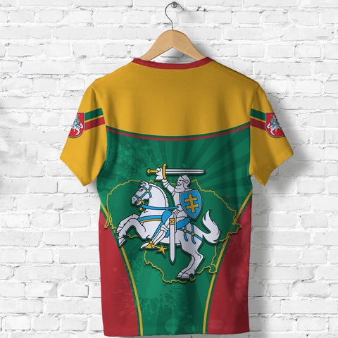 Lithuania - Lietuva T Shirt Circle Stripes Flag Proud Version Back | 1sttheworld