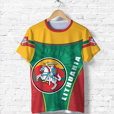 Lithuania - Lietuva T Shirt Circle Stripes Flag Proud Version Front | 1sttheworld