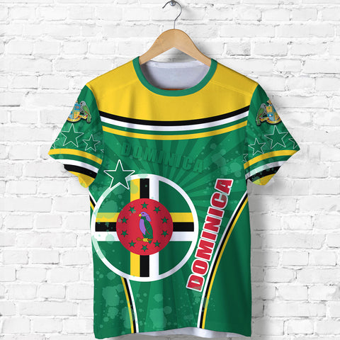 Dominica T Shirt Circle Stripes Flag Version Front | 1tstheworld.com