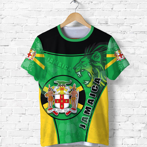 Image of Jamaica Lion T Shirt Circle Stripes Flag Version Front | 1sttheworld