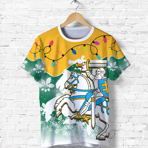 Image of Lithuania Christmas T Shirt Oak Leaves - Lietuva Front | 1sttheworld
