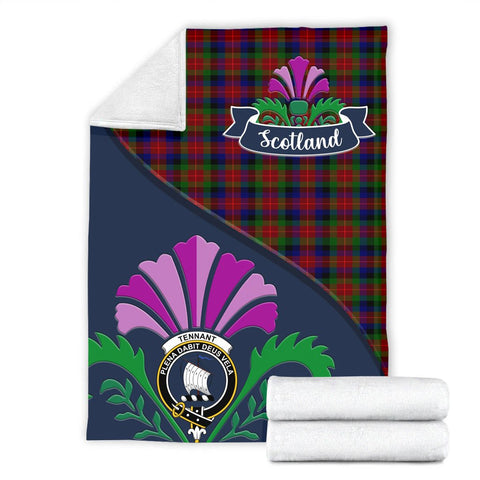 Image of Tennant Crest Tartan Blanket Scotland Thistle A30