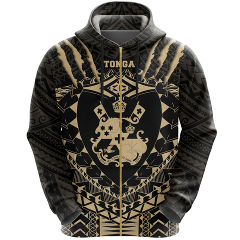 Image of Tongan Tattoo - Tongan Coat Of Arms Zip Hoodie K5