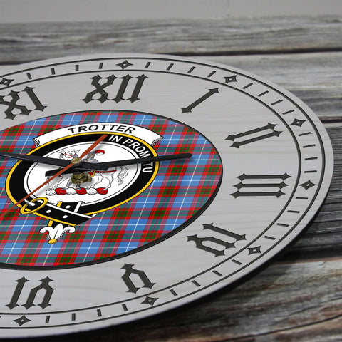 Trotter Tartan Clan Badge Wooden Wall Clock - 2 Layers Version - BN