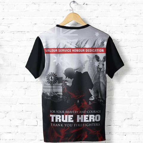 Image of Australian Firefighters T Shirt, True Blue Hero Shirt K5