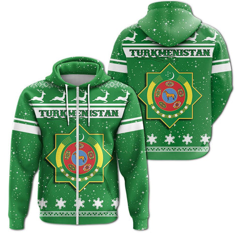 Christmas Turkmenistan Coat Of Arms Zip Hoodie
