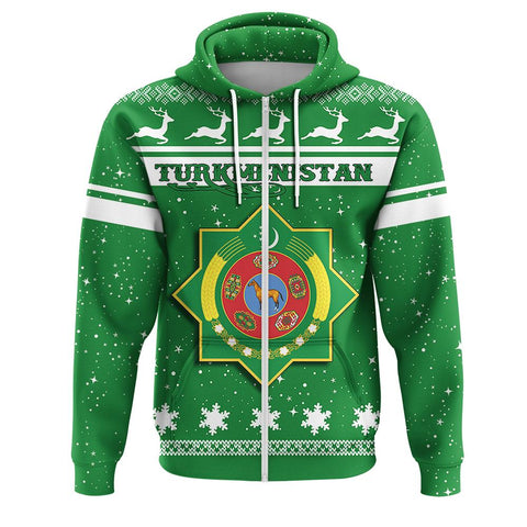 Turkmenistan Coat Of Arms Zip Hoodie