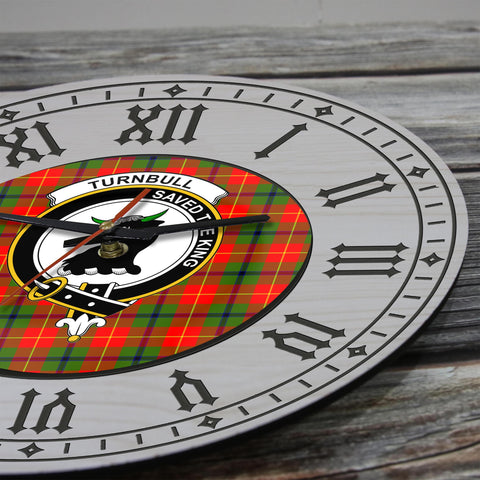 Image of Turnbull Tartan Clan Badge Wooden Wall Clock - 2 Layers Version - BN