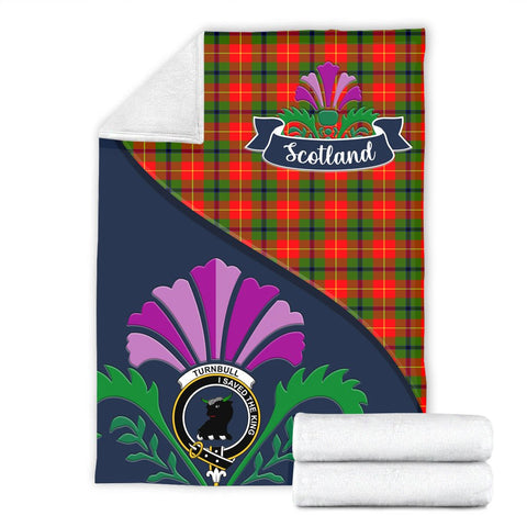 Image of Turnbull Crest Tartan Blanket Scotland Thistle A30