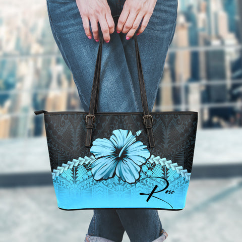 Image of (Custom) Polynesian Leather Tote Bag Hibiscus Personal Signature Turquoise A02