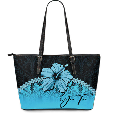 (Custom) Polynesian Leather Tote Bag Hibiscus Personal Signature Turquoise A02