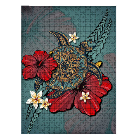 Hawaii Jigsaw Puzzle - Hibiscus Blue Turtle Tribal | Love The World