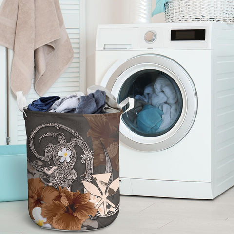 Image of Kanaka Maoli (Hawaii) Laundry Basket - Hibiscus Turtle Tribal Brown I Love The World
