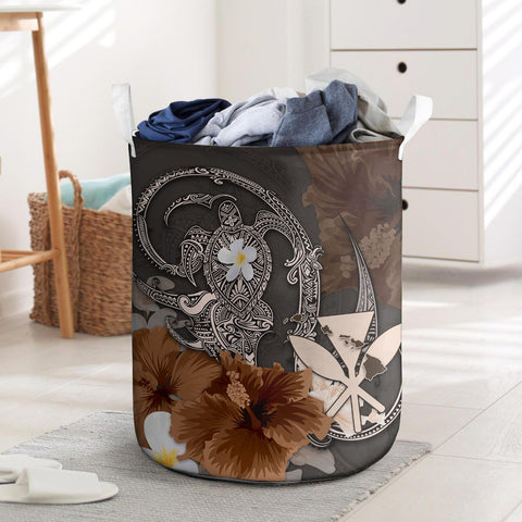 Kanaka Maoli (Hawaii) Laundry Basket - Hibiscus Turtle Tribal Brown I Love The World