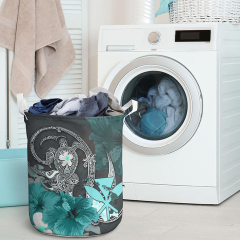 Image of Kanaka Maoli (Hawaii) Laundry Basket - Hibiscus Turtle Tribal Turquoise I Love The World
