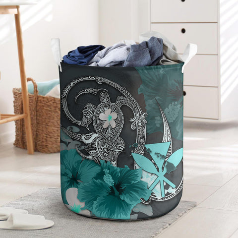 Kanaka Maoli (Hawaii) Laundry Basket - Hibiscus Turtle Tribal Turquoise I Love The World