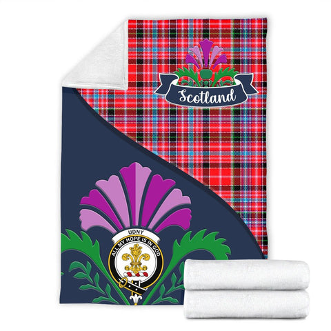 Image of Udny Crest Tartan Blanket Scotland Thistle A30