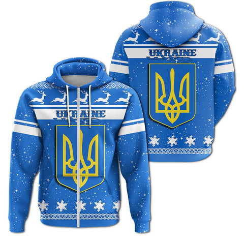 Christmas Ukraine Coat Of Arms Zip Hoodie