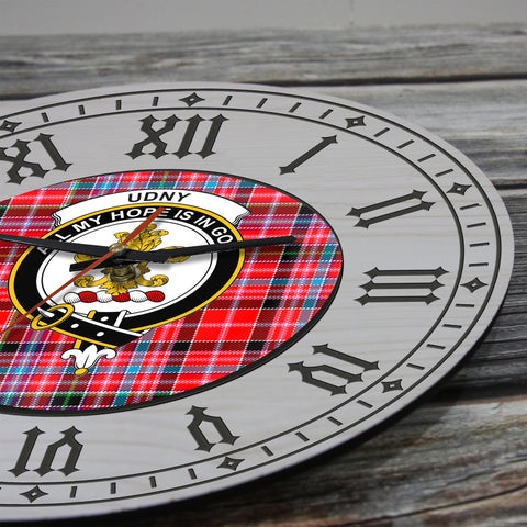 Image of Undy Tartan Clan Badge Wooden Wall Clock - 2 Layers Version - BN