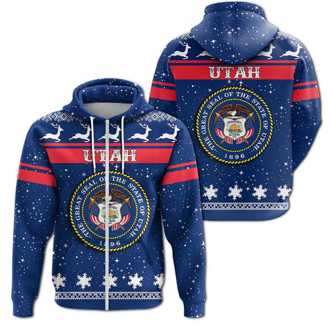 Christmas Utah Coat Of Arms Zip Hoodie