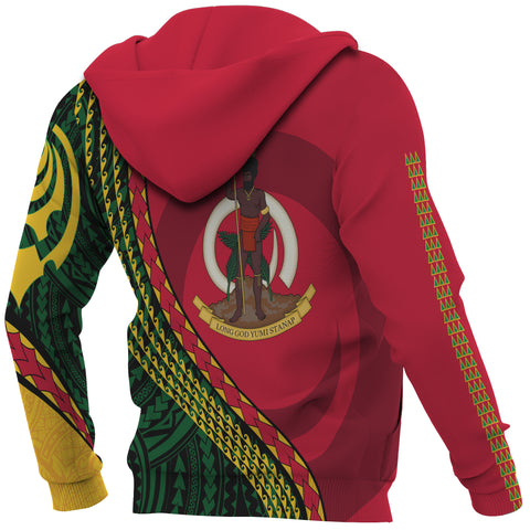 Image of Vanuatu Hoodie - Vanuatu Map Hoodie Generation IV - Red and Green - Back and Sleeves - For Men and Women
