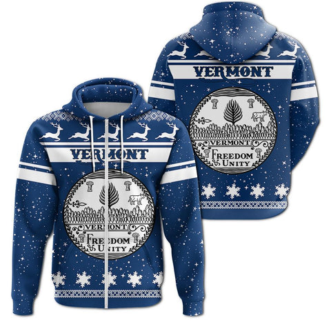 Christmas Vermont Coat Of Arms Zip Hoodie